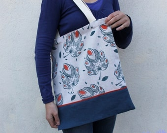 The fig leaf linen tote bag, block printing, handmade