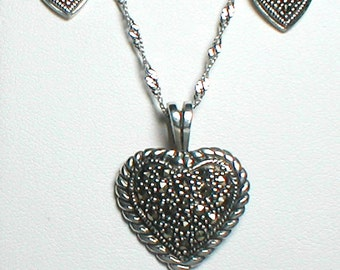 """Vintage Marcasite Necklace and Earring Set in Sterling Silver 925 18"""" 925 SS Necklace"""