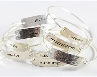 Sterling Silver Cuff Bracelet with One Word | Personalized Silver Cuff Bracelet Your Choice of Word