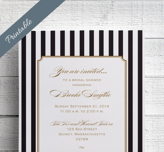 Striped Bridal Shower Invitation Printable