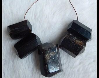 5 PCS Black Tourmaline  Gemstone Loose Beads,1 Strand,77.9g
