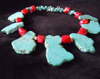 Turquoise chunky slab necklace with red coral