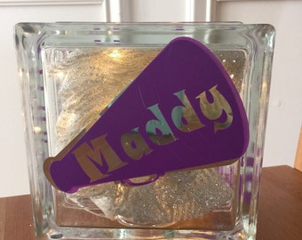 Personalized Monogramed Glass Block Light Cheerleading