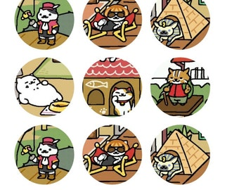 Neko Atsume Inspired 1 Inch Round Stickers