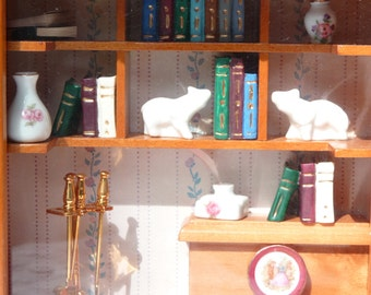 Reutter Original Germany Dollhouse Miniature China Livingroom w Porcelain Trinkets / Books - Wall Frame Shadow Box Dollhouse Library Room