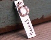 Personalized Hand Stamped Jewelry - Sterling Silver Vertical Tag (add on) - Just one date / name with birthstone