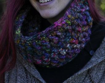Crochet chunky cowl circle scarf neckwarmer - Handspun art yarn hand dyed wool, custom colour selection, handmade wearable, MADE TO ORDER