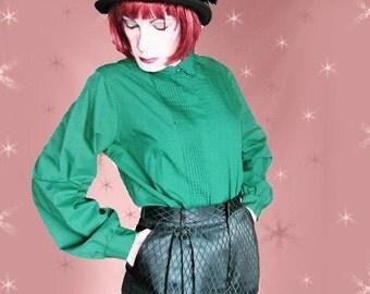 "Plus Size Vintage Green Blouse - Long Sleeve Shirt - 80s Judy Bond - 45"" Bust"