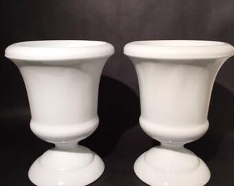 Pair of Urn Shaped Milk Glass Vases