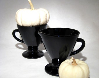 Black Glass Cream and Sugar Set