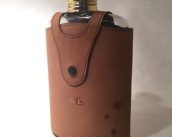 Vintage Flask with Leather Case