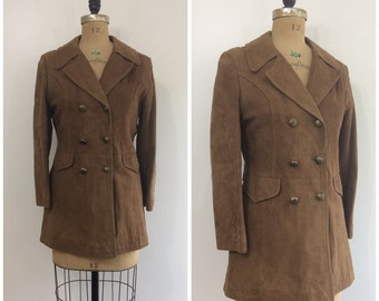 Vintage 1960s 1970s Leather Jacket Brown Suede