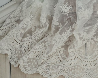 "3 yard 23cm 9.05"" wide ivory mesh tulle gauze fabric embroidered tapes lace trim ribbon L1K233 free ship"