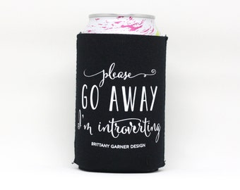 Introvert Drink Sleeve, Beverage Cooler, Introverting, Camping Drink Holder, Beer Lover Gift, Sunday Funday Drink Sleeve, Wedding Drink