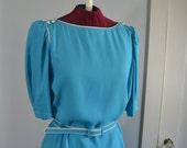 Vintage 1980's Baby Blue Dress - L