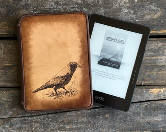 Kindle Leather Cover - Crow - Customizable - Free Personalization
