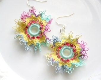 Pink Yellow Blue Ruffle Frilly Hoop Style Tatting Lace Dangle Earrings