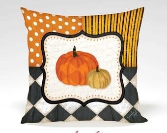 Pumpkins Decorative Pillow -Halloween, Thanksgiving, Fall, Home Decor, Orange, Black, White, Polka Dots, Stripes, Full Inserted Pillow