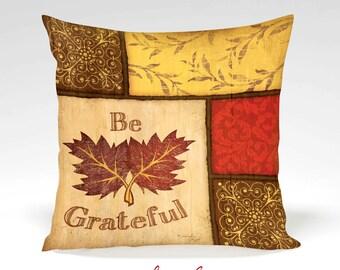 Be Grateful Decorative Pillow -Halloween, Thanksgiving, Fall, Home Decor, Orange, Black, Gold, Full Inserted Pillow