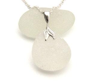Sea Glass Jewellery Sea Glass Necklace Beach Glass Jewellery Seaglass Jewelry Upcycled Glass Snow White Sea Glass Necklace Mermaid SYLVIE