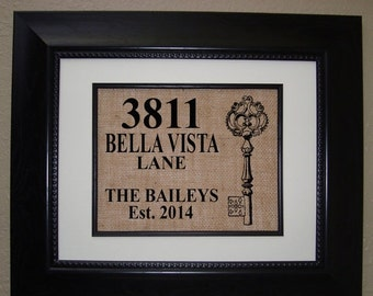 35% OFF SALE Personalized House Warming Gift BURLAP Print .. Makes a Unique New Home Gift