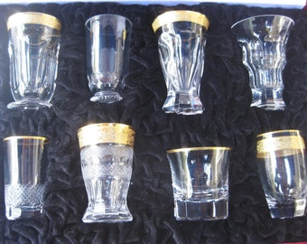 Moser Crystal Shot Glasses Set of 8 in Leather Case ~ Czech Republic ~ Unused