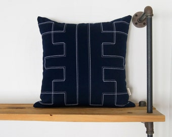 Navy blue decorative pillow covers in 18x18 | Grey and white African inspired pillow case | Tribal, ethnic, aztec cushion | Boho decor