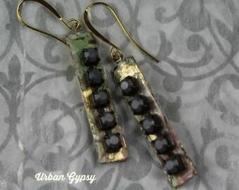 E 144 Urban Gypsy Fancy Bohemian Rhinestone Handcraftd Urban Gypsy nDangle Drop Earring