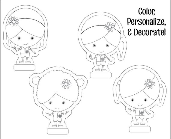 Daisy girl scouts paper dolls printable instant download for Daisy cut out template