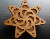 Seven Point Spiral  -crop circle series-  Wooden Hat Pin