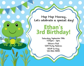 Frog Invitation Birthday Party or Baby Shower Green Blue Printable Digital JPEG File