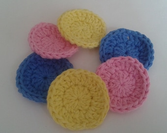 Reusable Cotton Rounds,Makeup Removers, Crocheted Facial Scrubbies Set of 6- Yellow, Pink and Blue