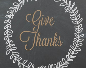 Give Thanks Chalkboard Art Instant Download