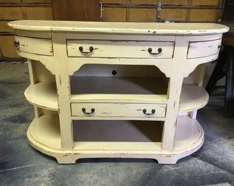 Distressed Ivory Media Cabinet