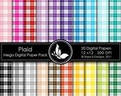 50% off Plaid Mega Paper Pack - 20 Digital papers - 12 x12 - 300 DPI