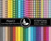 50% Off Plaid 2 Super Mega Paper Pack - 40 Printable Digital papers - 12 x12 - 300 DPI //////2
