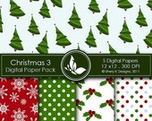 50% off Printable Christmas Paper Pack 3 - 5 Printable Digital paper - 12 x12 - 300 DPI