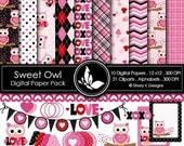 50% off Sweet Owl - 10 Digital papers 12 x12 300 DPI - 21 Cliparts - 8 Alphabet sets - 300 DPI