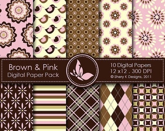 50% off Brown & Pink Paper Pack - 10 Digital papers - 12 x12 - 300 DPI