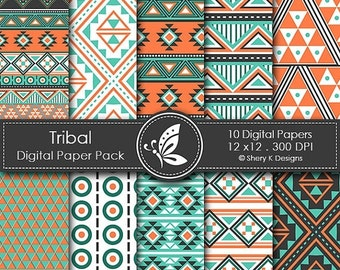 50% Off Tribal Paper Pack - 10 Digital papers - 12 x12 - 300 DPI