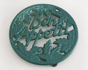 Vintage French  Cast Iron Enameled Table Mat, cast iron Trivet, Bon appetit French country kitchen table