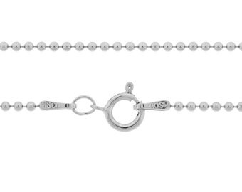 Ball Chain with clasp Sterling Silver 1.5mm 22 Inch  - 5pcs Neck chain (3099)/5