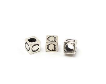 Alphabet Beads Sterling Silver 6mm Alphabet Blocks Q - 1pc (3210)/1