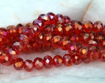 20 pcs 6x4mm Transparent Dark Red AB with Gold Highlights  Faceted Rondelle Crystals