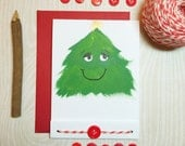 Hand Painted - 6 Card Set - Matchbook Style - Christmas - Holiday - Smiling Christmas Tree Note Cards - Eco -Friendly