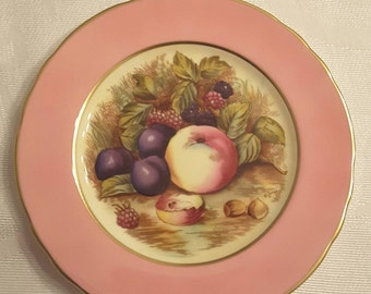 "Aynsley Dessert/Salad/Sandwich Plate; Color is Pink; 6 3/8""D; Hand Painted Fruit by D Jones circa 1930's-  DR"