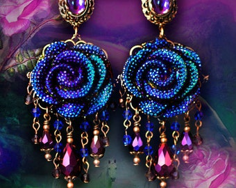 "Sparkly Electric Blue & Purple Rhinestone Rose Earrings, 4"" Crystal Fantasy Jewelry, Clip-On Option, Large Flowers, Silver or Bronze"
