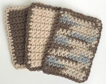 Crochet Sponge Dishcloth Washcloth - THICK - Set of 3 - Brown, Slate Blue, Tan - 100% Cotton