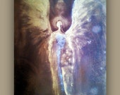 Angel Guidance - Original Texture Painting on Stretched Canvas  - 16X20 by Alma