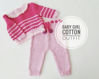 Baby Girl Outfit, Hand Knitted Cotton Outfit for new baby, Baby Pink Set, Baby Knitted Pants and Sweater, Newborn Gift idea